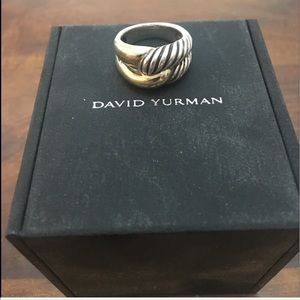 David Yurman Gold & Silver High Dome Cable Band